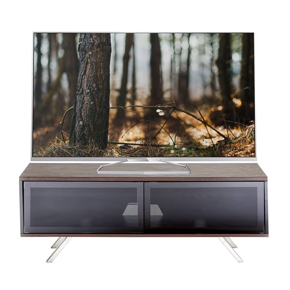 "Vegas 1200 Walnut TV Cabinet with glass doors for up to 55"" screens"