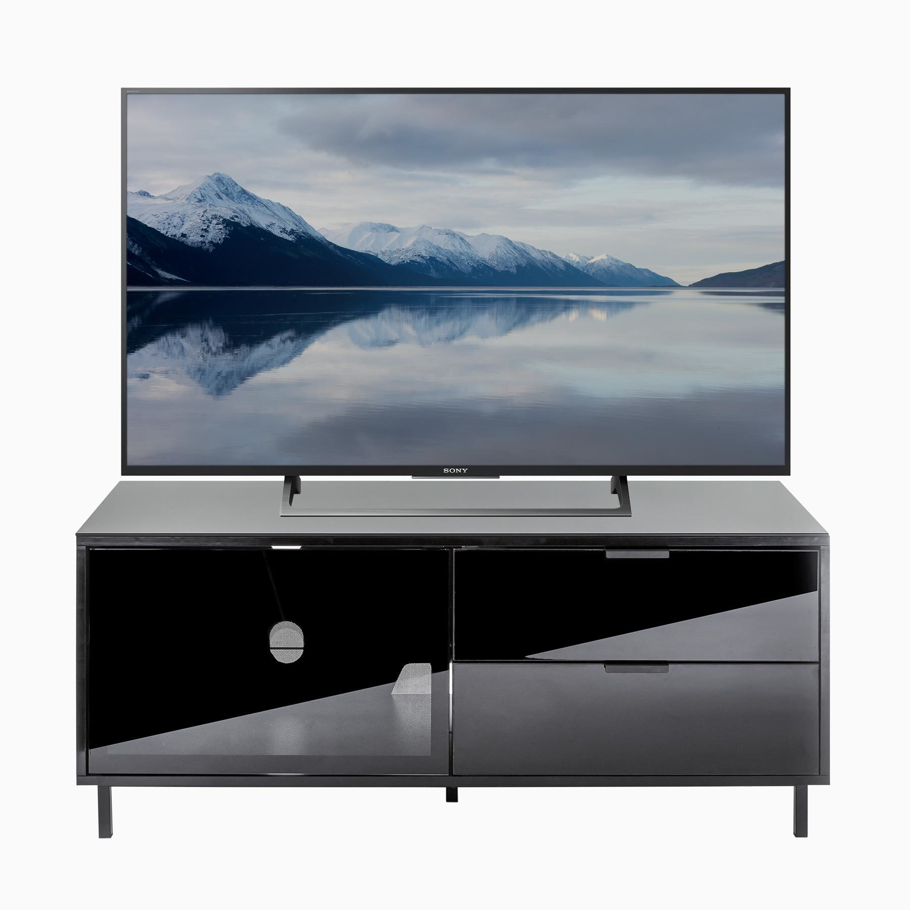 """Inertia Stratos SETVC-1200BLK Black gloss TV cabinet for up to 55"""" screens"""