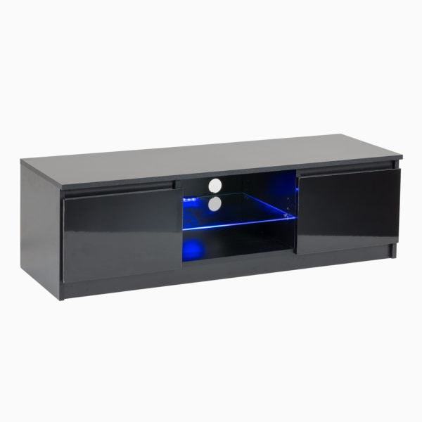 RTV Black Gloss TV Cabinet with Blue LED lights for up to 65 inch screens