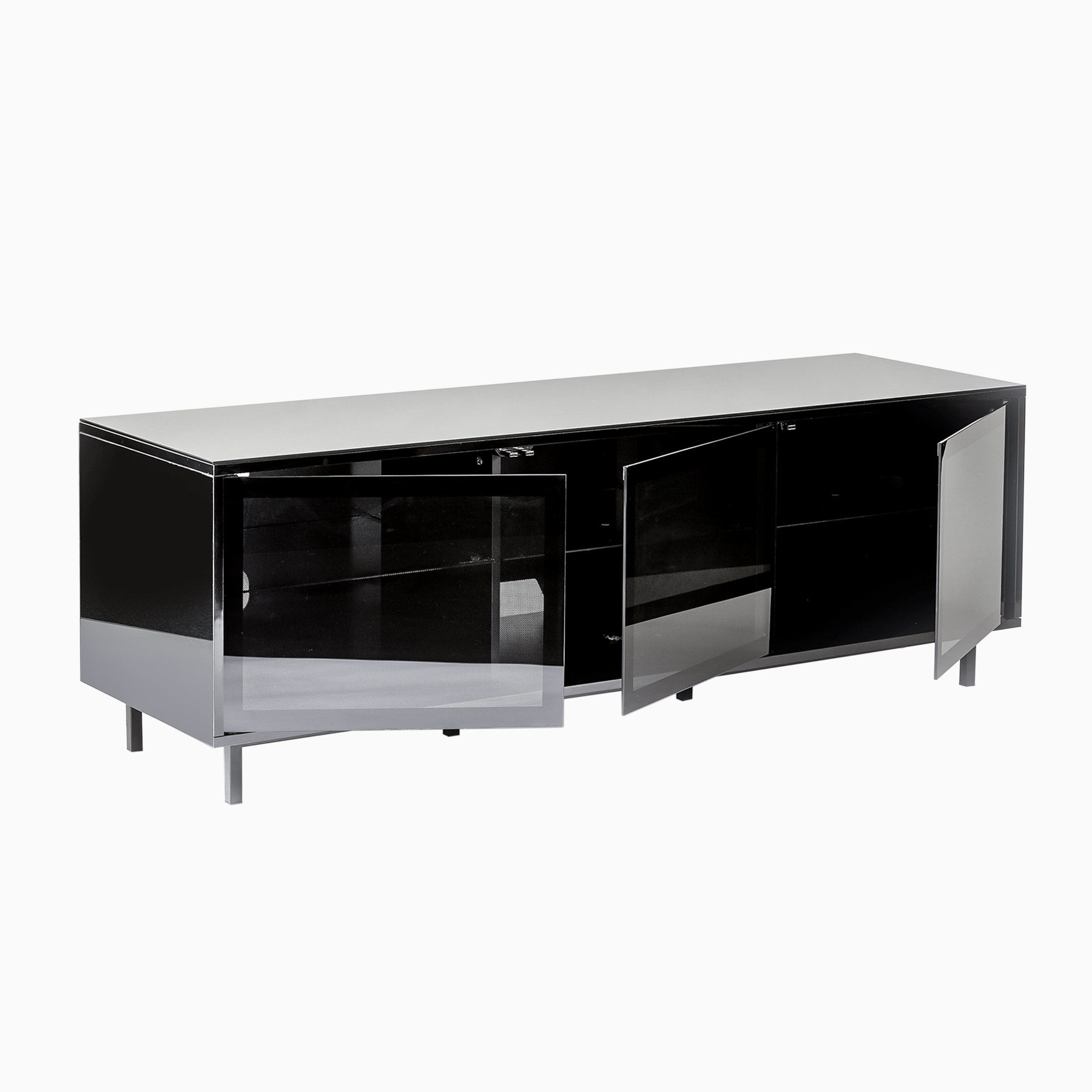 Inertia Stratos TDSETVC-1500BLK Black gloss TV cabinet for up to 65 inch screens