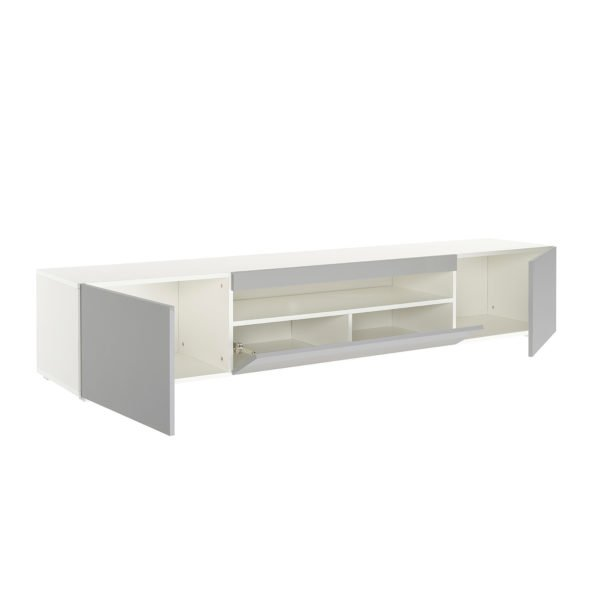 Daiq2000 Wide Grey Tv Cabinet Main Open